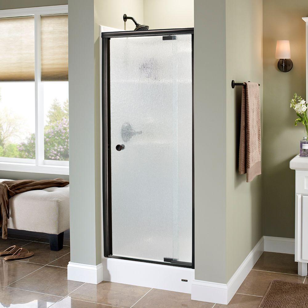 Delta Phoebe 31 In X 66 In Semi Frameless Traditional Pivot Shower Door In Bronze With Rain Glass