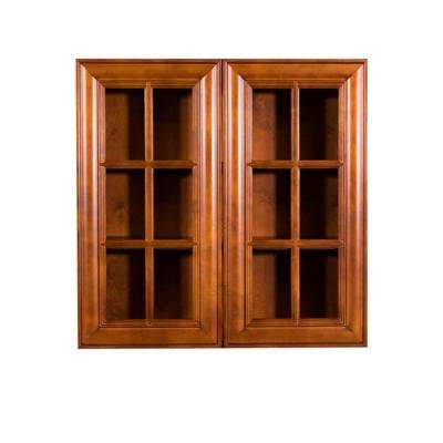Cambridge Assembled 24x30x12 in. Wall Mullion Door Cabinet with 2 Doors 2 Shelves in Chestnut
