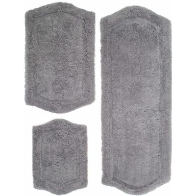 3 Piece Paradise Memory Foam Bath Rug Set - Grey