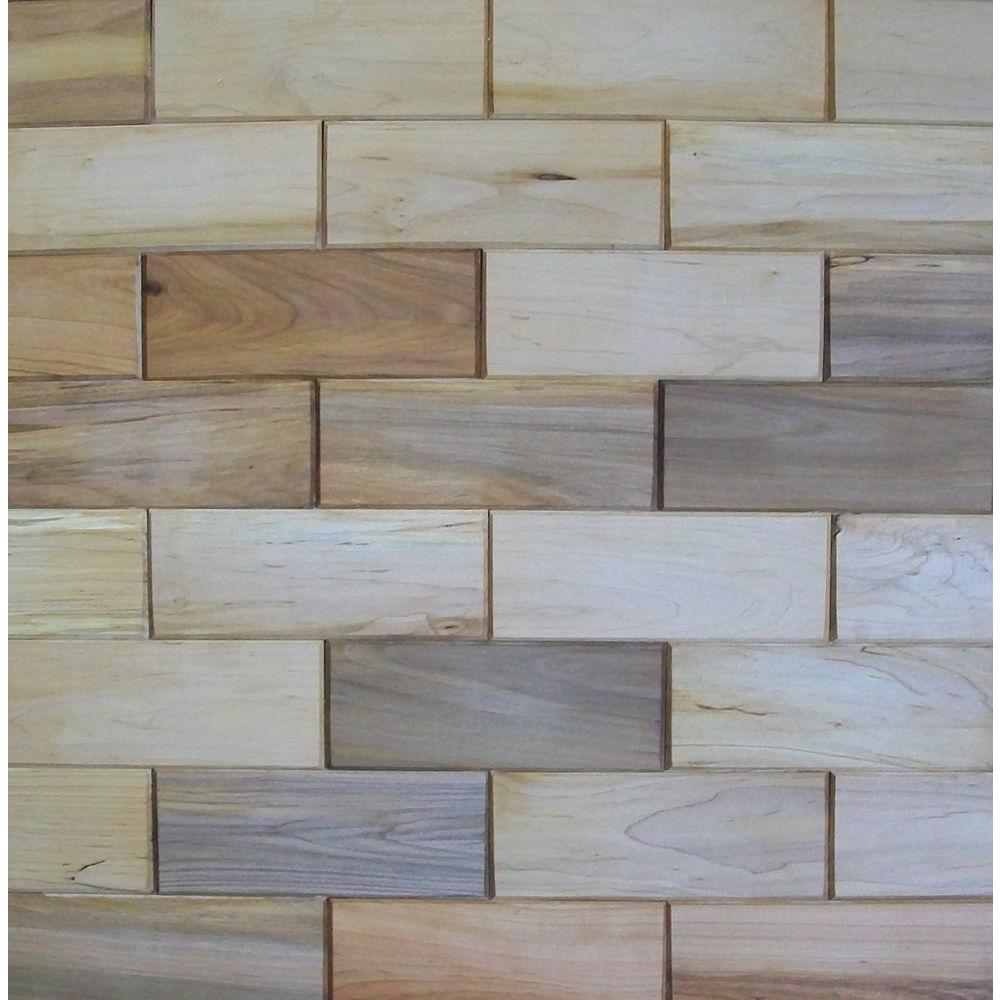 Rustix Woodbrix 3 in. x 8 in. Prefinished Maple Wooden Wall Tile