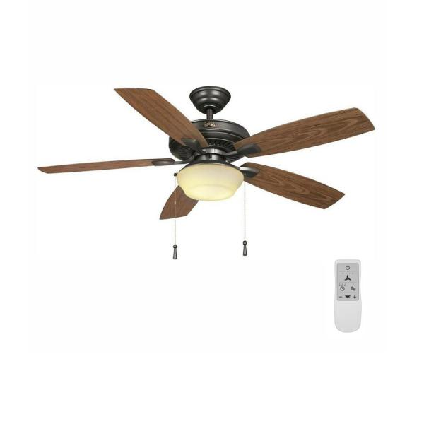 Gazebo 52 in. LED Natural Iron Ceiling Fan with Light and WiFi Remote Control works with Google and Alexa