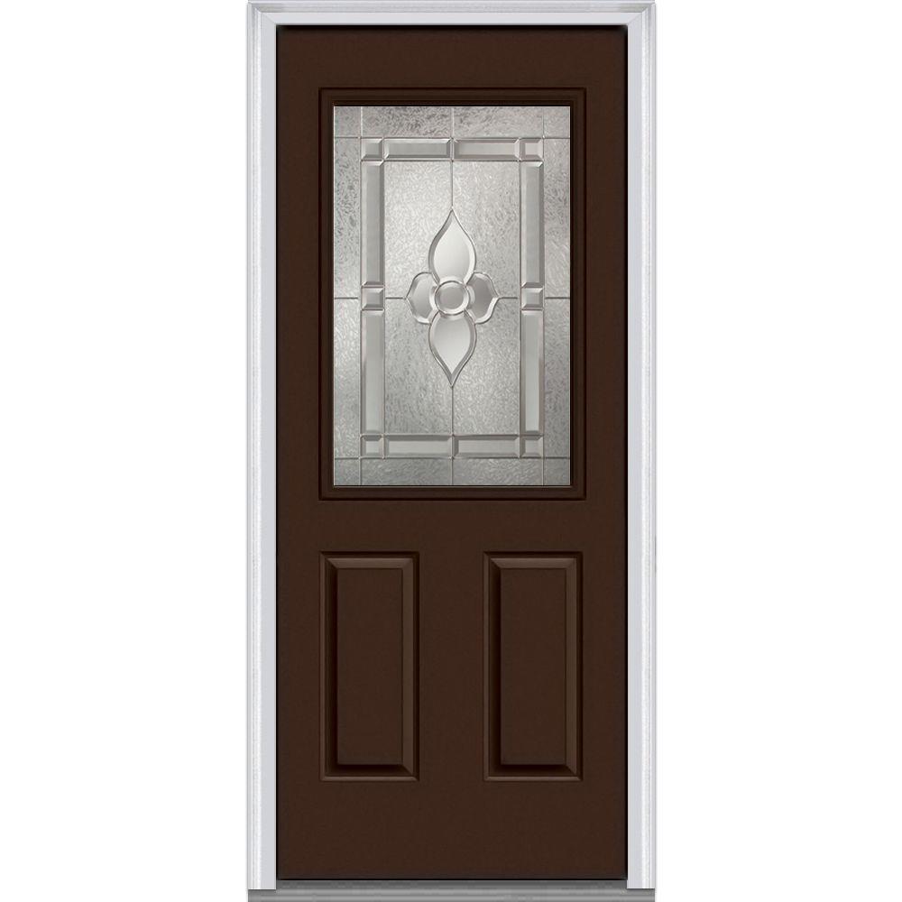 32 in. x 80 in. Master Nouveau Left-Hand 1/2-Lite Decorative 2-Panel Painted Fiberglass Smooth Prehung Front Door