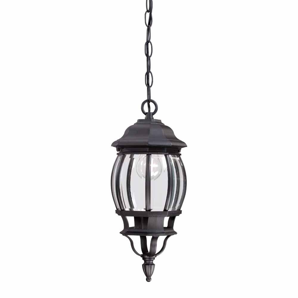 Hampton bay 1 light black outdoor hanging lantern hb7030 for Hanging outdoor light fixtures