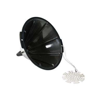 Black Plastic Oil Funnel with Metal Filter