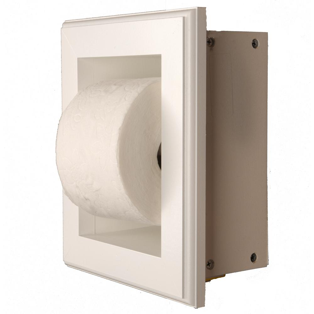 Newton Recessed Toilet Paper Holder 16 In White Niche Frame