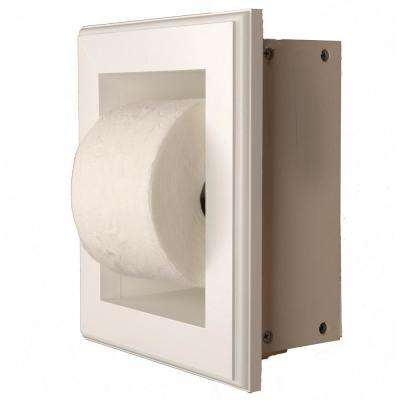 Newton Recessed Toilet Paper Holder 16 Holder in White in Niche Frame