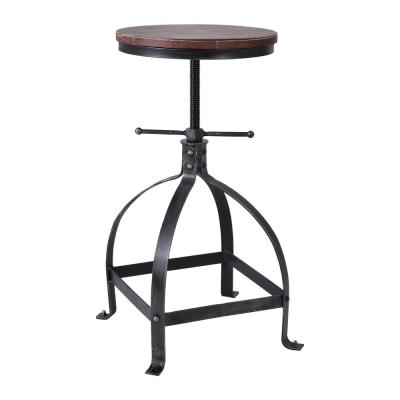 Francis Adjustable Silver Brushed Gray with Rustic Pine Wood Seat Barstool