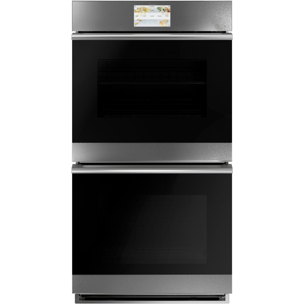 Cafe 27 in. Smart Double Electric Wall Oven with Convection Self-Cleaning and Wi-Fi in Platinum