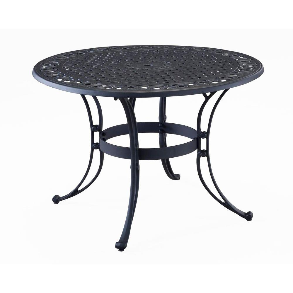 Pleasing Homestyles Biscayne 48 In Black Round Patio Dining Table Bralicious Painted Fabric Chair Ideas Braliciousco