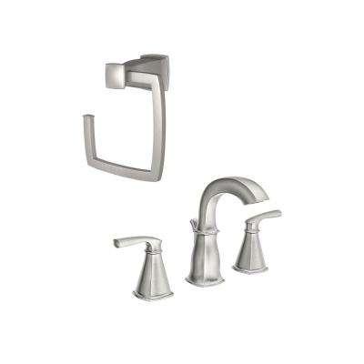 Hensley 8 in. Widespread 2-Handle Bathroom Faucet with Towel Ring in Spot Resist Brushed Nickel