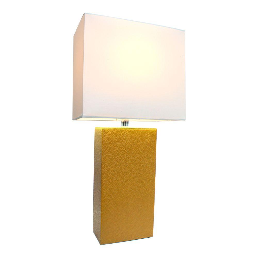 Elegant Designs Monaco Avenue 21 In. Modern Tan Leather Table Lamp With  White Fabric Shade