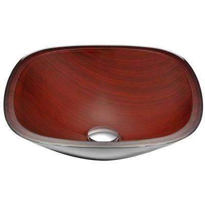 Cansa Series Deco-Glass Vessel Sink in Rich Timber