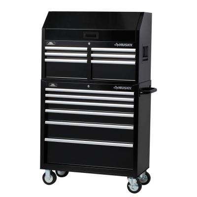 36 in. 12-Drawer Tool Chest and Cabinet Set, Black
