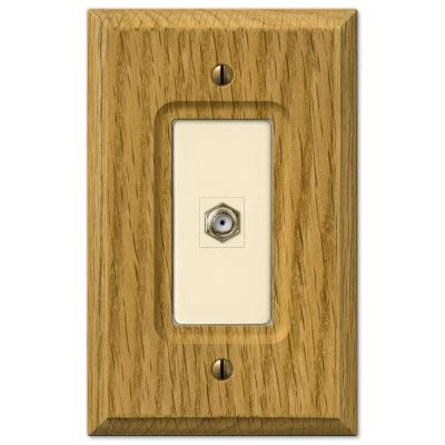 Carson 1 Gang Coax Wood Wall Plate - Light Oak