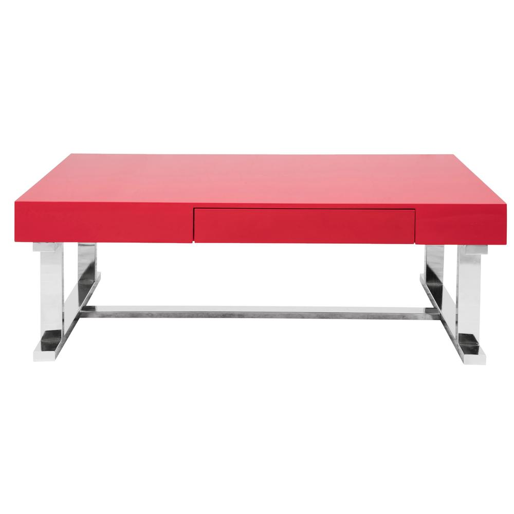 Lumisource Er Contemporary Rectangular Coffee Table In Red And Chrome