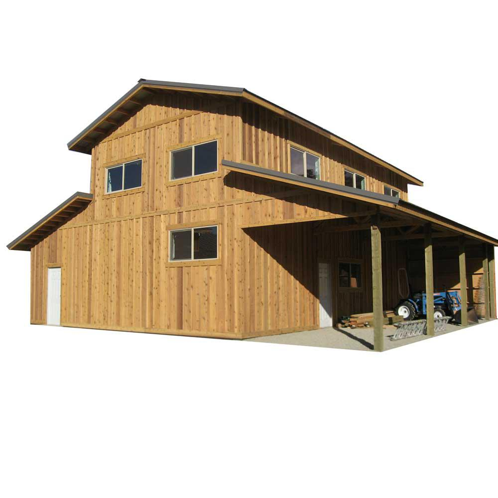 44 ft x 40 ft x 18 ft wood garage kit without floor for Home hardware garage packages cost
