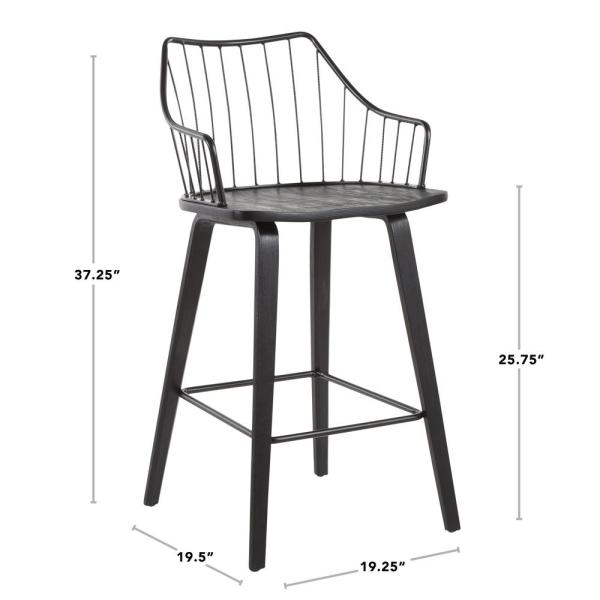Lumisource Winston 37 In Spindle Back Black Wood And Black Metal Counter Height Stool B26 Winstn Bkbk The Home Depot