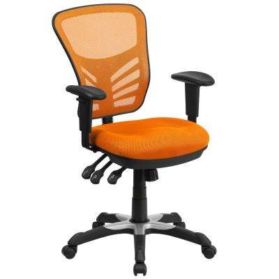 Mid Back Orange Mesh Swivel Task Chair With Triple Paddle Control