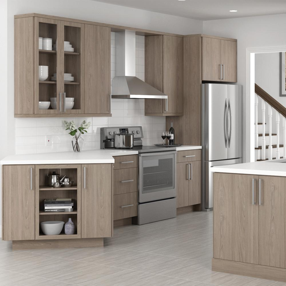 Hampton Bay Designer Series Tayton Embled 30 In X 18 12 Metal Lift Up Door With Frosted Gl Wall Kitchen Cabinet Driftwood
