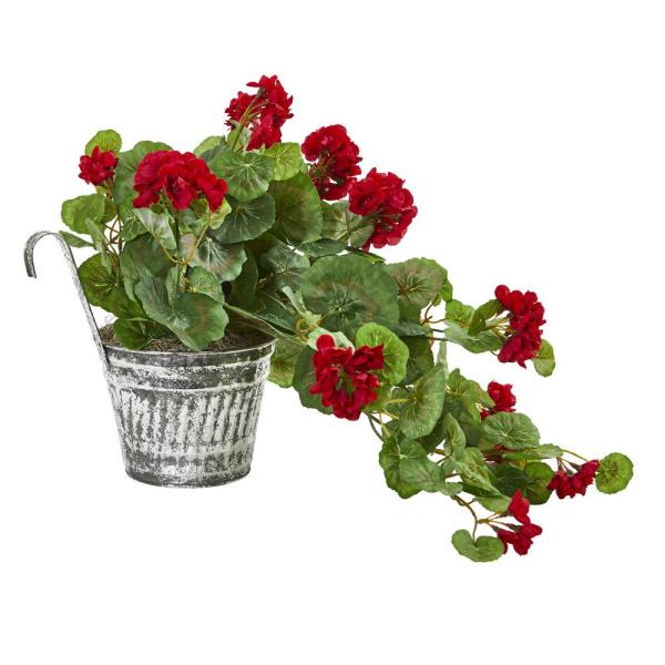 Nearly Natural Geranium Artificial Plant In Vintage Hanging