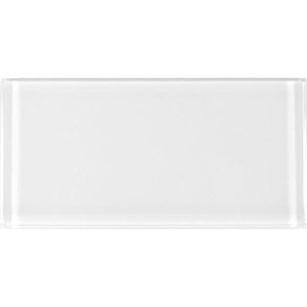 ABOLOS Subway 3 in. x 6 in. Rectangle White Glossy Glass