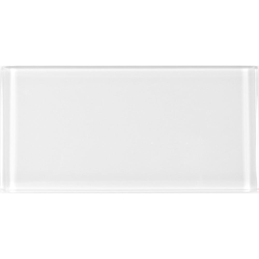 3 in. x 6 in. Metro White Snow Glass Peel and