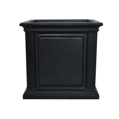 14 in. sq. Black Composite Straight Side Panel Planter