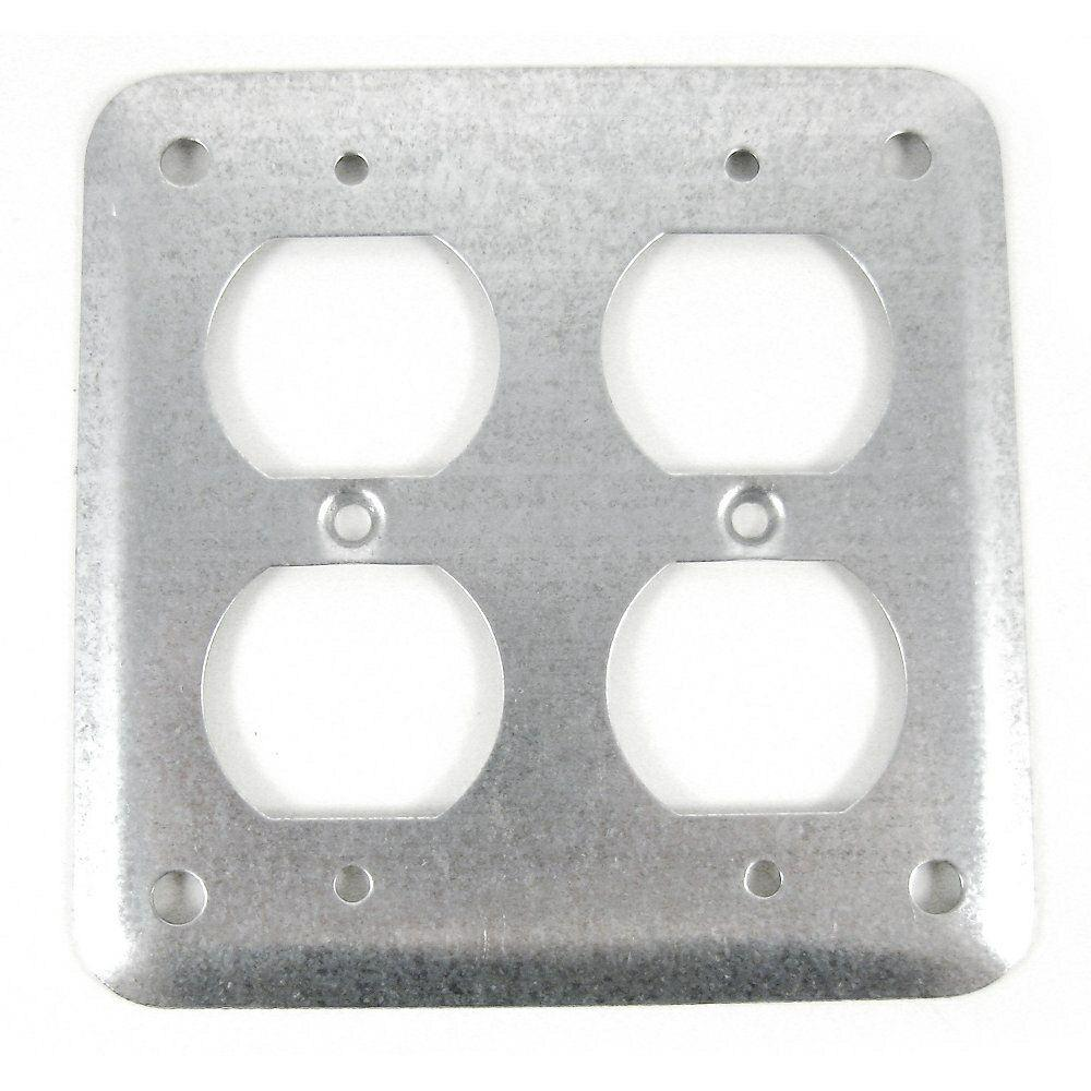 Steel City 4 In Square Surface Cover For 2 Duplex Receptacle Case