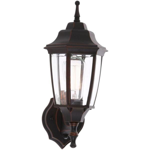 Hampton Bay 1 Light Oil Rubbed Bronze Outdoor Dusk To Dawn Wall Lantern Sconce Bpp1611 Orb The Home Depot