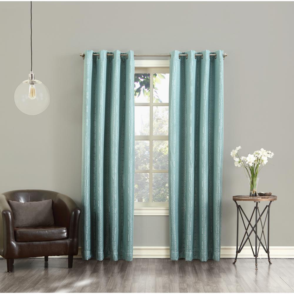 Toulouse Spa Greek Key Motif Grommet Room Darkening Curtain - 52 in. W x 84 in. L