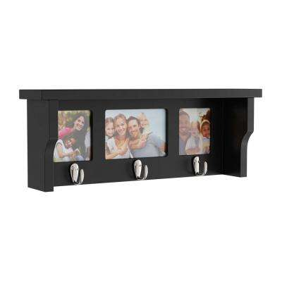 18.75 in. L x 4 in. W x 7 in. H Black Wood Decorative Wall Shelf and Picture Collage with Hanging Hooks