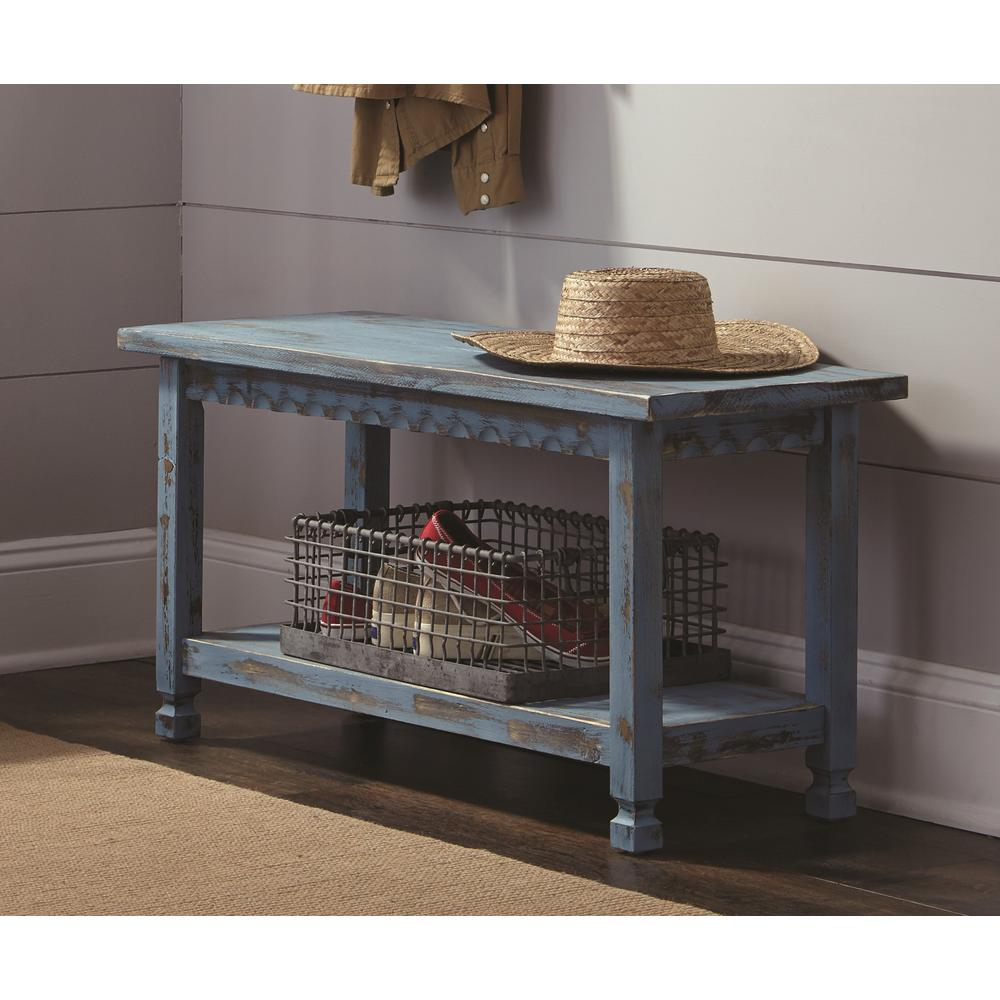 Alaterre Furniture Country Cottage Blue Antique Bench