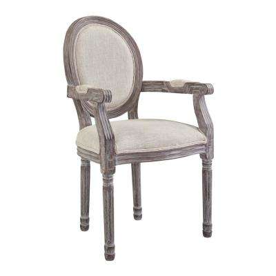 Emanate Beige Vintage French Upholstered Fabric Dining Armchair in