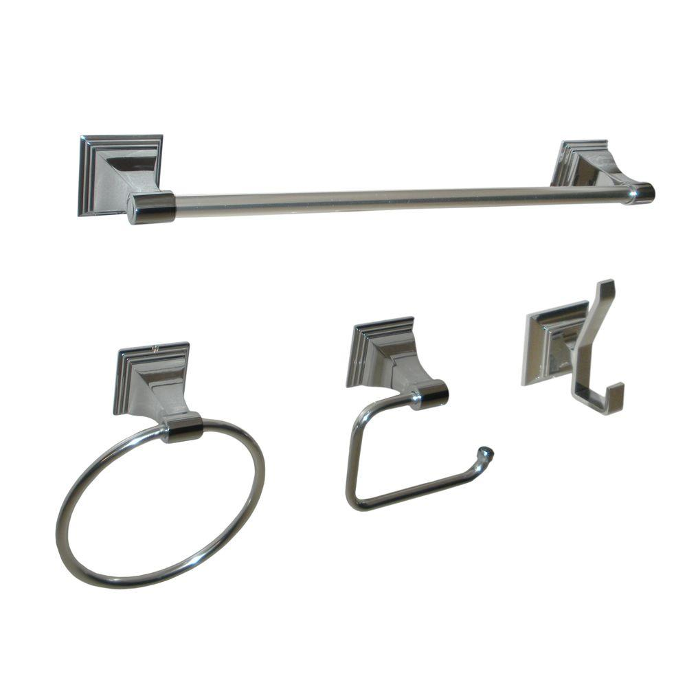 Leonard Collection 4-Piece Bathroom Accessory Kit in Chrome