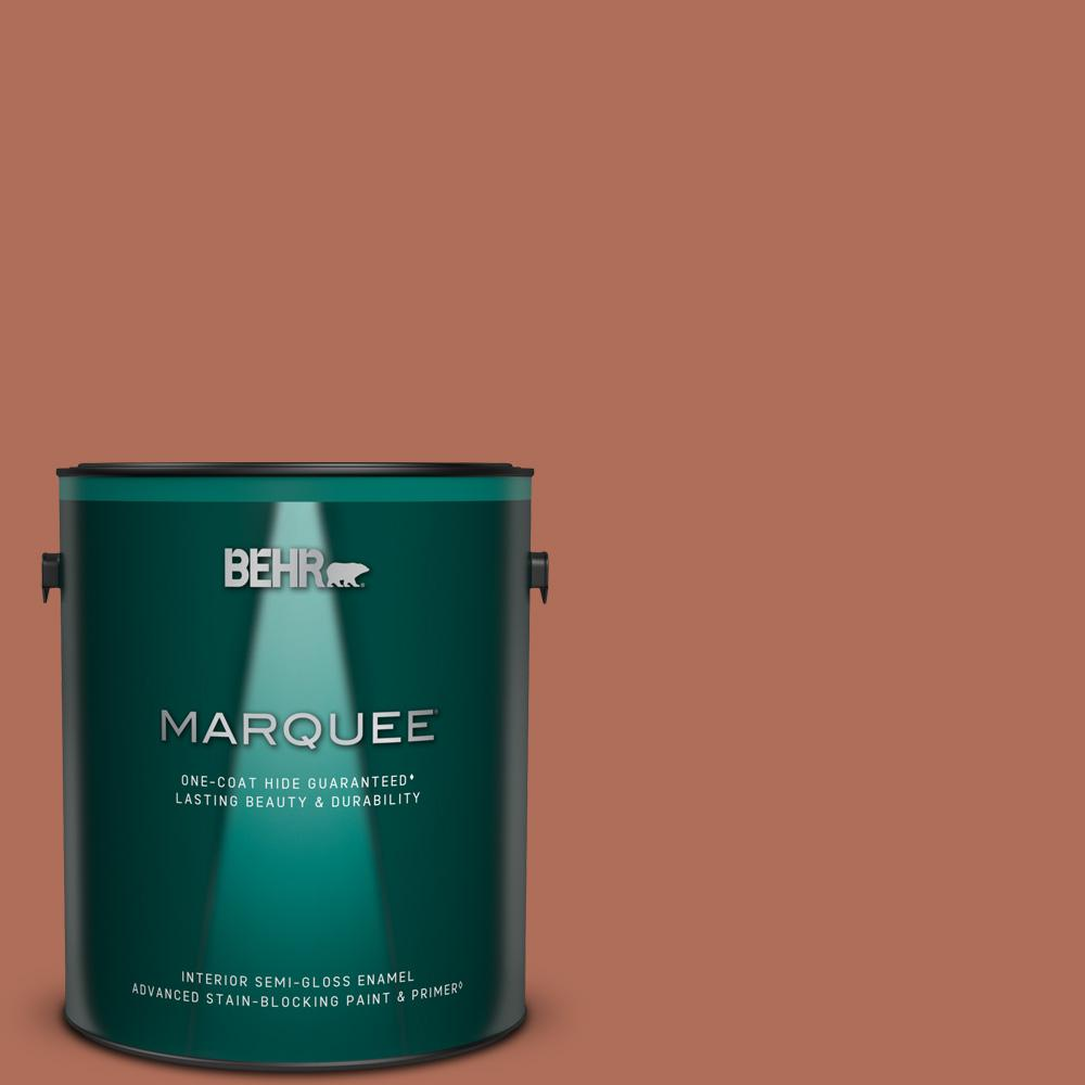 Behr Marquee 1 Gal Bxc 39 Sunset Orange Semi Gloss Enamel Interior Paint Primer 345301 The Home Depot