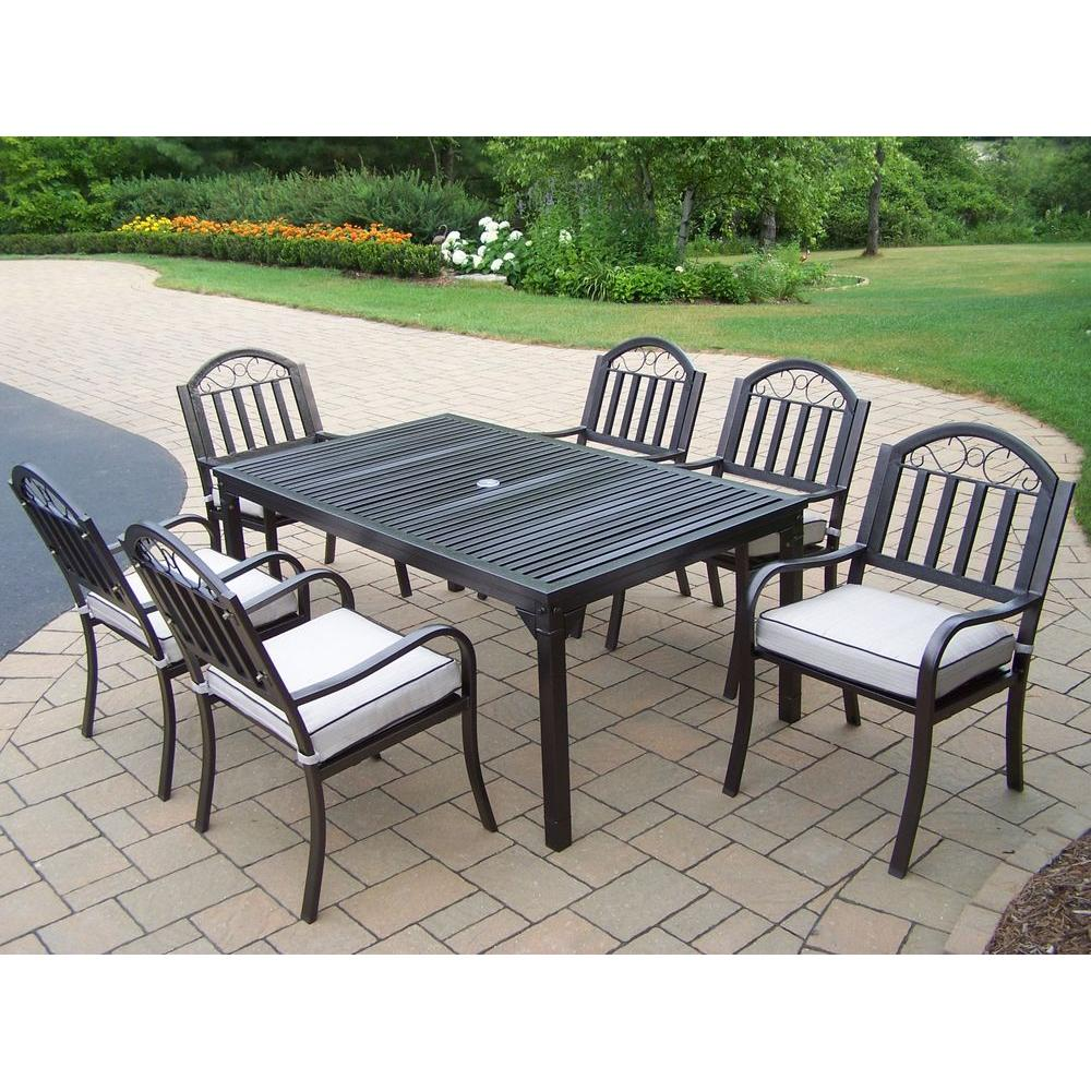 Oakland Living Rochester 7 Piece Patio Dining Set With Cushions 6137 3830 13 Hb The Home Depot
