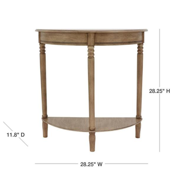 Simplicity Half Round Oak Console Table