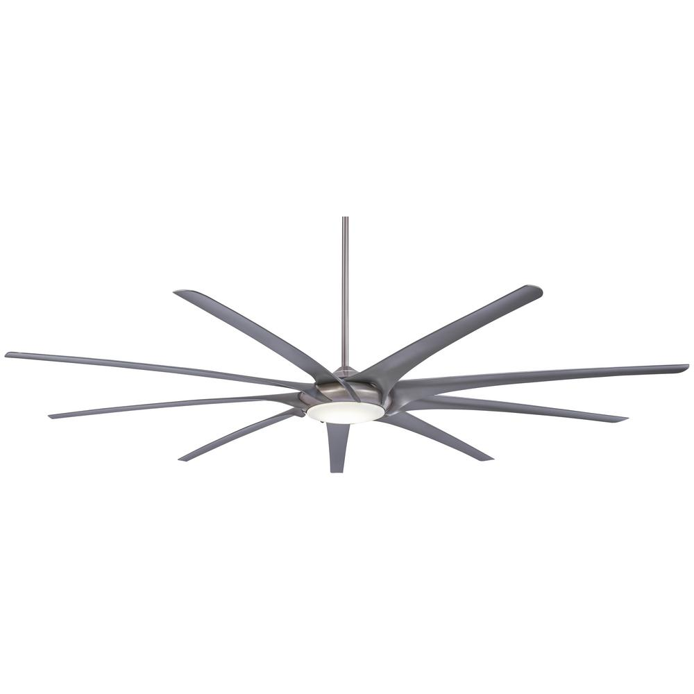 Minka-Aire Ninety-Nine 99 in. Integrated LED Indoor Brushed Nickel Ceiling Fan with Light with Remote Control