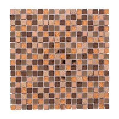 Terrazas Micro Squares Mix Ochre 12 in. x 12 in. x 6mm Glass Steel and Stones Mosaic Tile