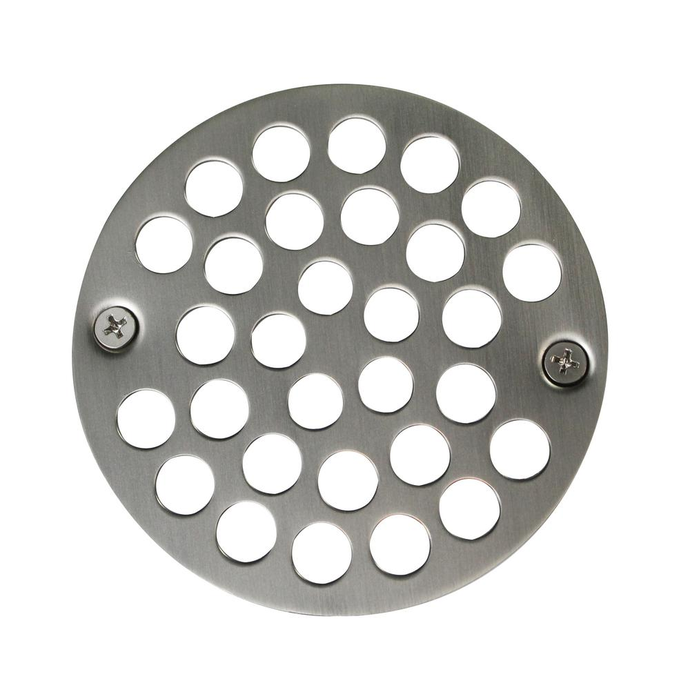 Westbrass 4 in. O.D. Shower Strainer Cover Plastic-Oddities Style in Satin Nickel