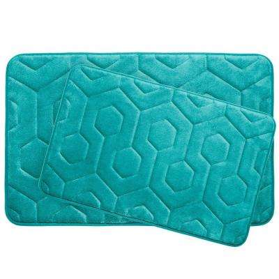 Hexagon Turquoise 20 in. x 34 in. Memory Foam Bath Mat Set (2-Piece)