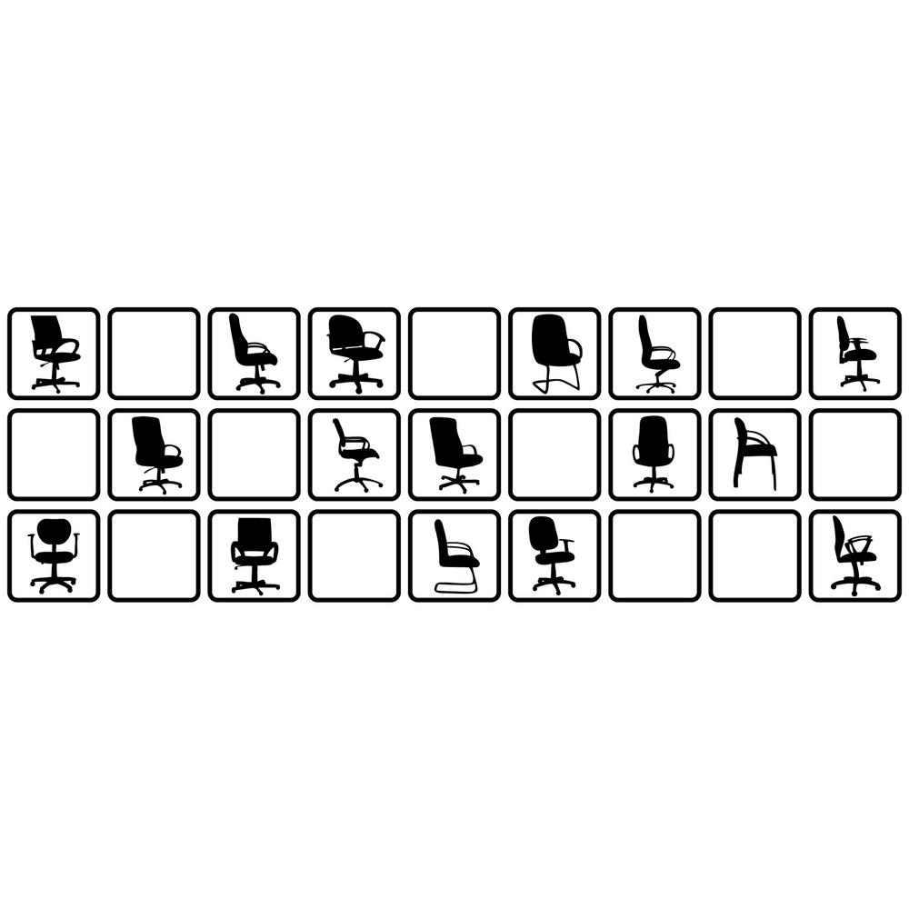 26 In X 85 In Black Chairs In A Box Wall Transfer Decal 13102