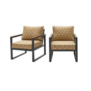 West Park Black Aluminum Outdoor Patio Lounge Chair with CushionGuard Toffee Trellis Tan Cushions (2-Pack)