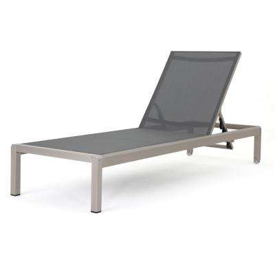 Cape Coral Silver 1-Piece Metal Adjustable Outdoor Mesh Chaise Lounge