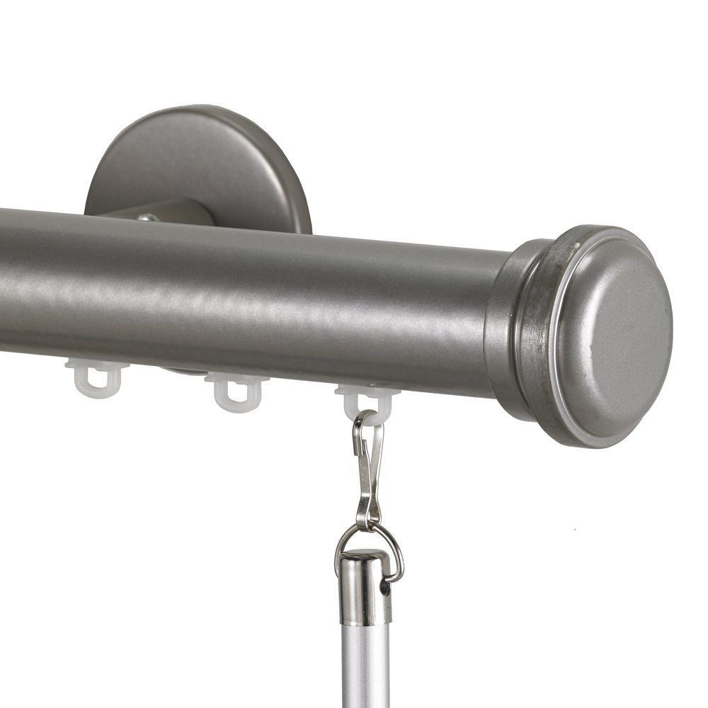 Art Decor Tekno 25 Decorative 108 in. Traverse Rod in Antique Silver with Empire Finial
