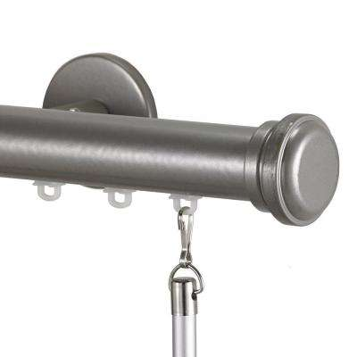 Tekno 25 Decorative 120 in. Traverse Rod in Antique Silver with Empire Finial
