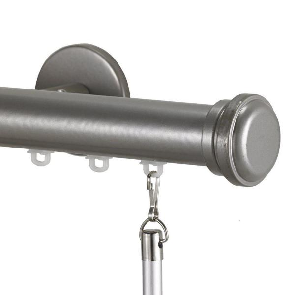 Tekno 25 Decorative 84 in. Traverse Rod in Antique Silver with Empire Finial