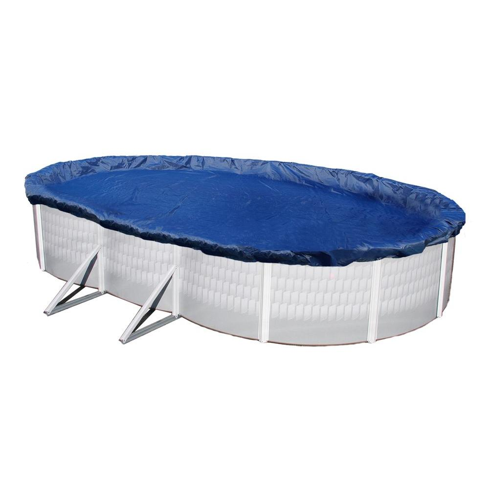 Blue Wave 15-Year 12 ft. x 24 ft. Oval Royal Blue Above Ground Winter Pool  Cover