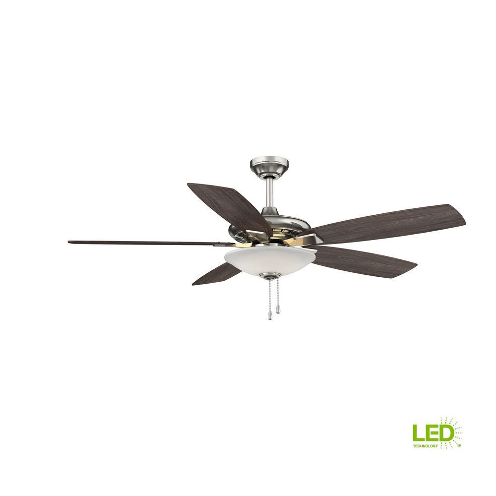 Hampton Bay Menage 52 In Integrated Led Indoor Low Profile Brushed And Red Wire Ceiling Fan Wiring Without Light Also Hunter Nickel With