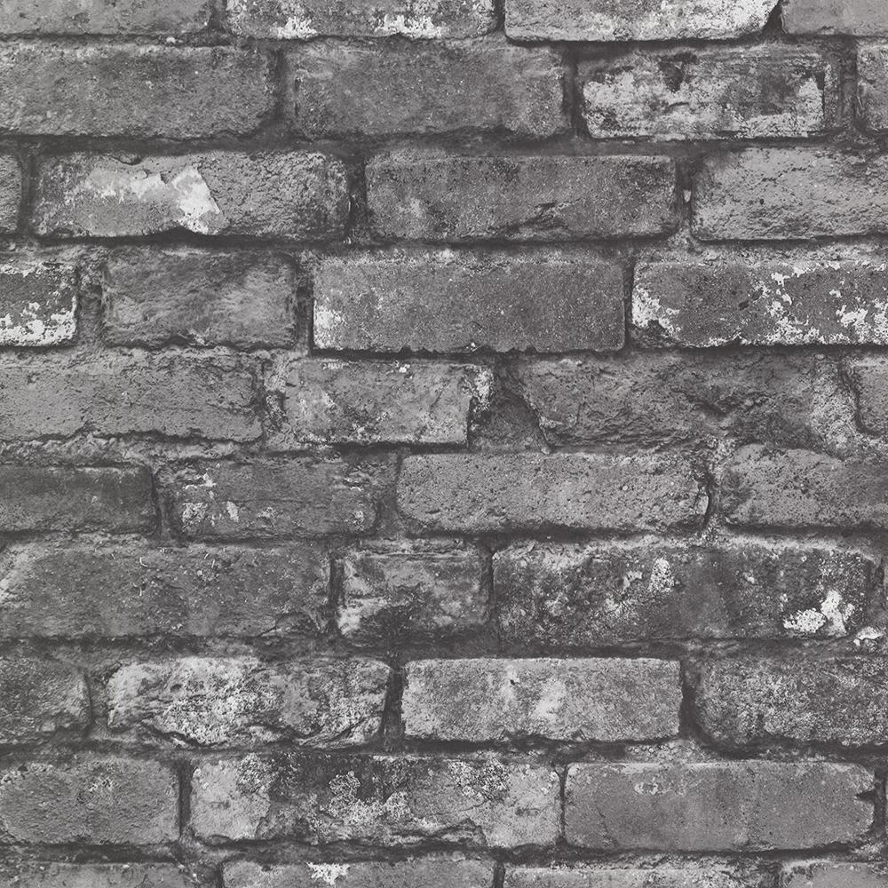 56.4  sq. ft. Debs Grey Exposed Brick Wallpaper